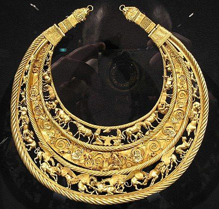 The Golden Pectoral from Tovsta Mohyla also spelled Tolstaya Mogila is an ancient Scythian treasure discovered in a burial kurgan by the same name in 1971 by the Ukrainian archaeologist Boris Mozolevski. The Tovsta Mohyla burial mound, meaning fat barrow, is located in present day southern Ukraine near the province of Dnipropetrovsk. As many Scythian gold pieces, it is made by neighbouring craftsmen, like Black Sea Greek colonists.