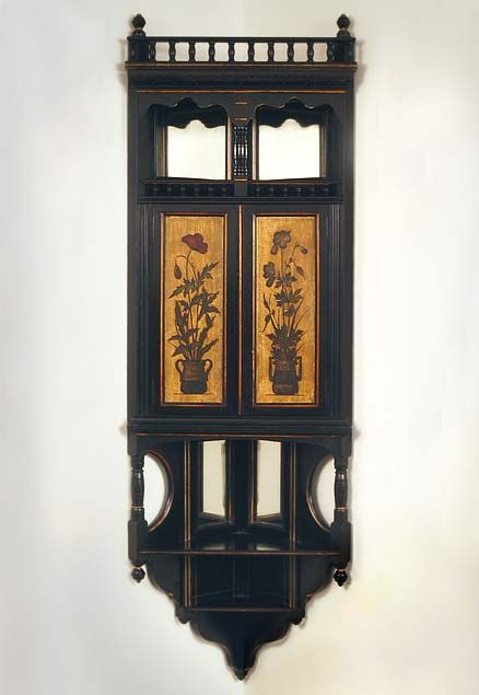 H.W. Batley (attrib.), Ebonized Hanging Corner Cupboards, c.1875-1880. Manufacture attributed to Gillow & Co. Associated Artists LLC | Southport CT