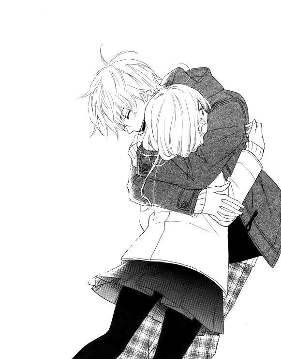 Anime couple black and white hug mang couple - Anime hug pics ...