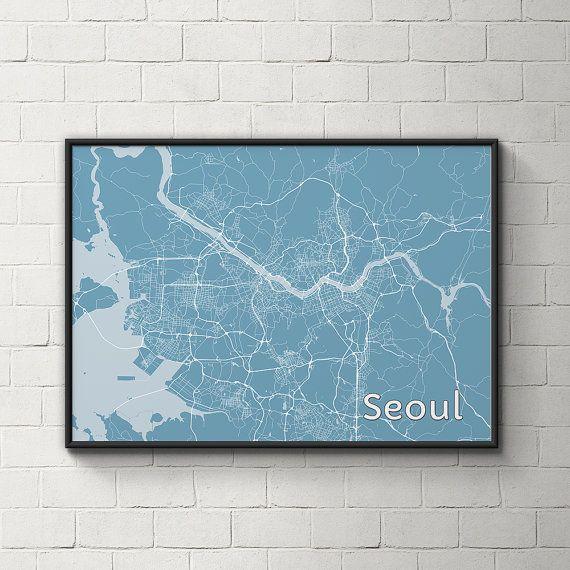Seoul Metropolitan Artistic Map 18 x 24 by MapHazardly on Etsy, $30.00