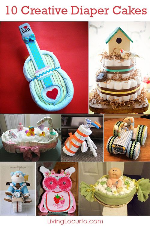 10 Creative Diaper Cakes! Cute DIY Baby Shower Party Ideas.