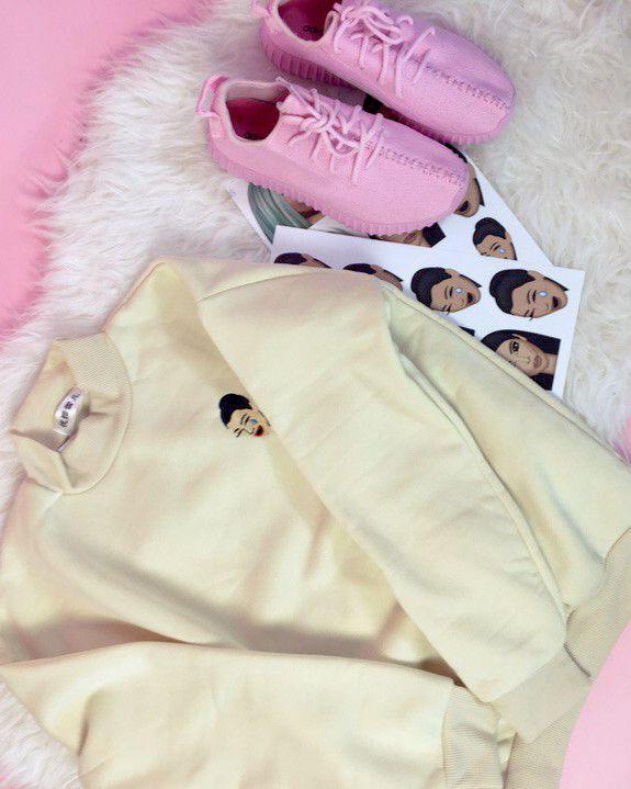 kimoji sweatshirt beige shop boogzel apparel free shipping