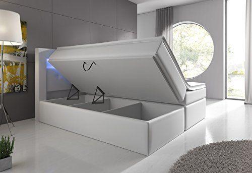 Boxspringbett 140x200 Weiß mit Bettkasten LED Kopflicht Hotelbett Venedig Lift