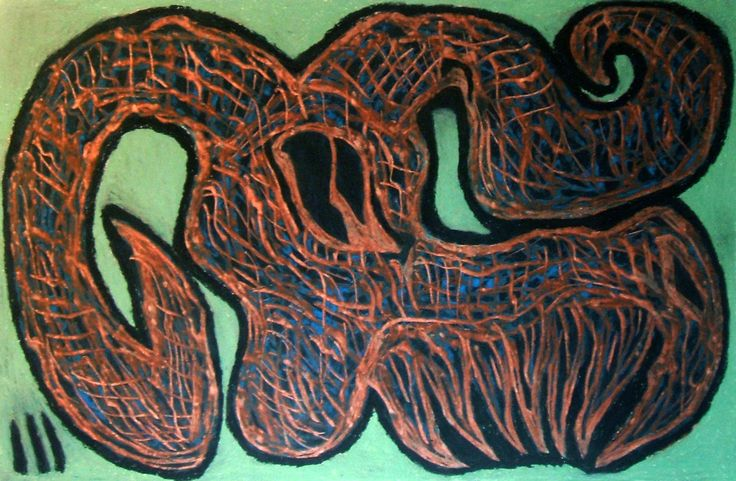 """Teschio di caprone"" 2015 Tecnica mista su cartoncino 38x58 cm © Pietro Gargano"