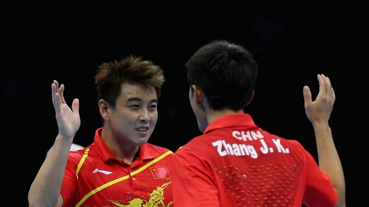 Jike Zhang and Hao Wang of China celebrateJike Zhang and Hao Wang of China celebrate during the Men's Team Table Tennis semifinal match against team of Germany on Day 10 of the London 2012 Olympic Games at ExCeL