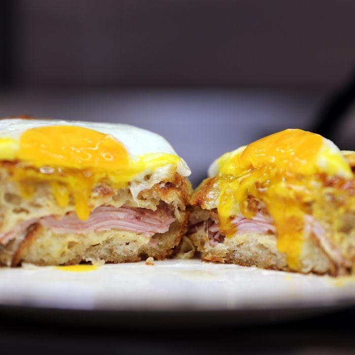 This French sandwich is considered a major classic for a reason: it's oozing with Gruyère and béchamel, stuffed with salty ham and spicy Dijon, and topped with a fried egg.