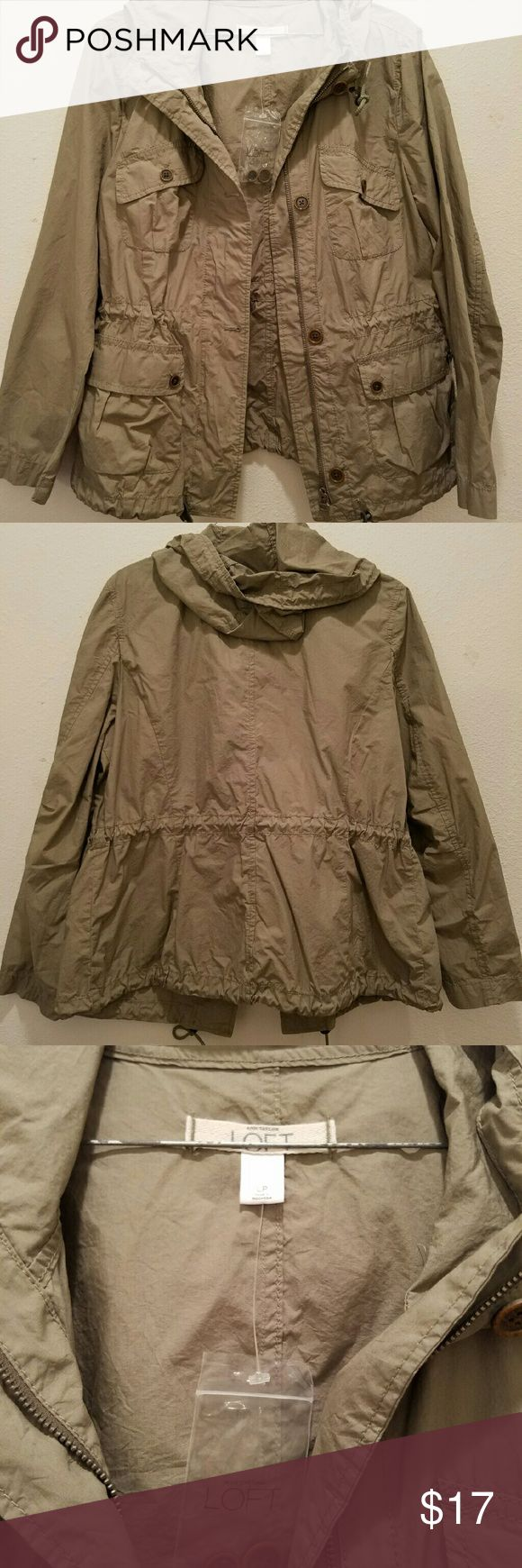 Ann Taylor Loft Jacket Beige womens jacket with four pockets on front and hoodie The Loft Jackets & Coats Utility Jackets