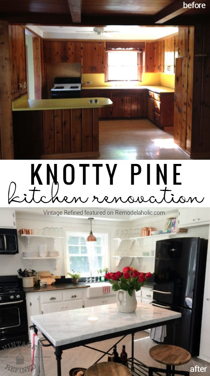 Knotty Pine Kitchen Cabinet and Paneling Renovation @Remodelaholic
