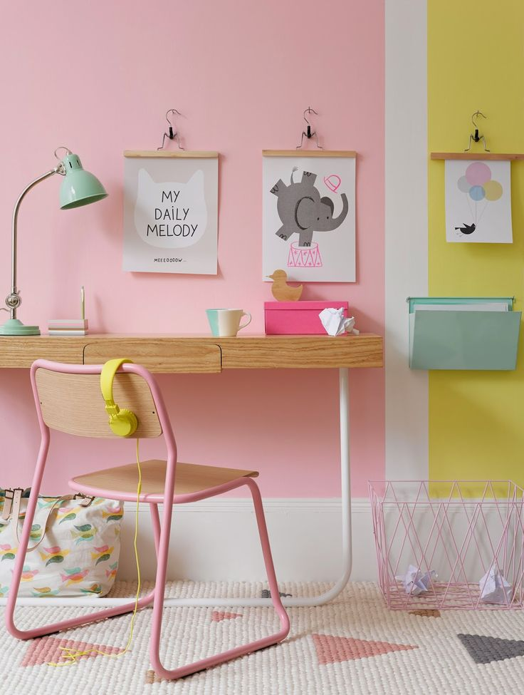 Pretty little girls room - use pastel paints to create accent walls