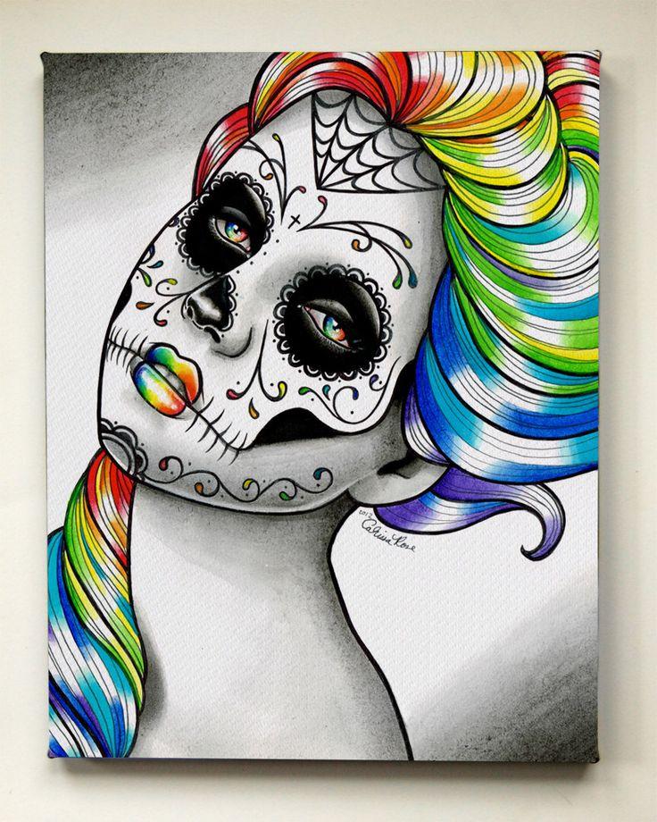 Day of the Dead Art Print - Stretched Canvas Rainbow Sugar Skull Girl Tattoo Fine Art Print Home Decor Pretty Dia De Los Muertos Wall Art by NeverDieArtOnDemand on Etsy https://www.etsy.com/listing/194063393/day-of-the-dead-art-print-stretched