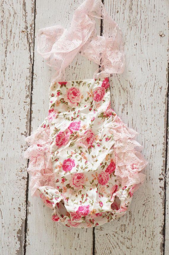 Baby Romper - Shabby Flower Romper - Girls Sunsuit - Baby Bubble Romper - Ruffle Romper on Etsy, $18.00