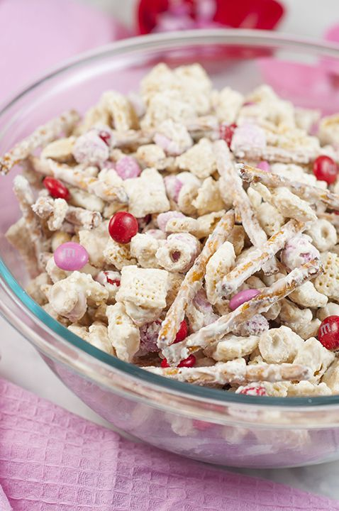 Valentine's Day Cupid's Crunch Chex Mix recipe is a no-bake, sweet and salty snack loaded with red, white and pink M