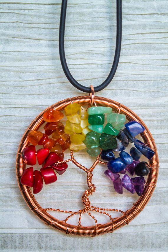 Arbol de la vida arco iris de alambre