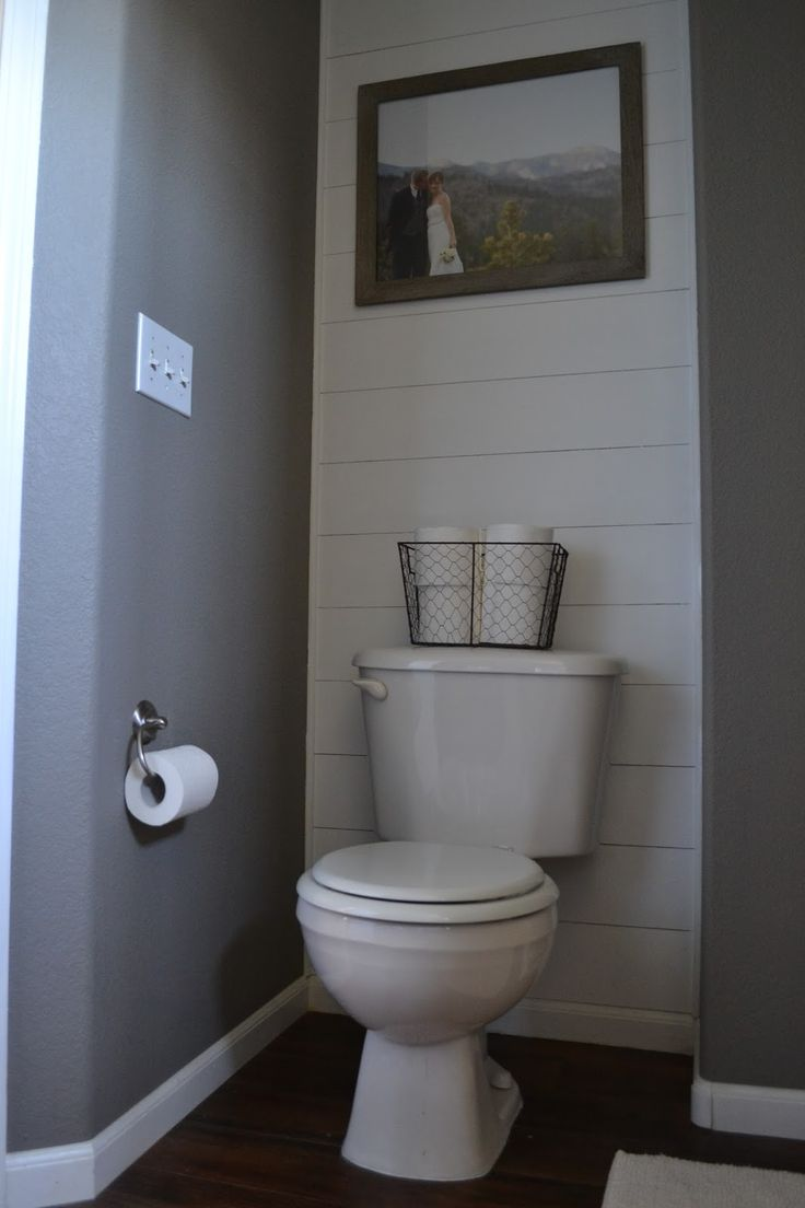 diy plank accent wall behind toilet big bathroom upstairs