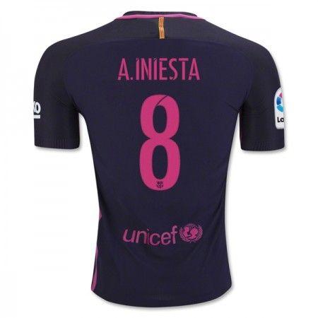 Barcelona 16-17 Andres Iniesta 8 Borte Drakt Kortermet.  http://www.fotballpanett.com/barcelona-16-17-andres-iniesta-8-borte-drakt-kortermet.  #fotballdrakter