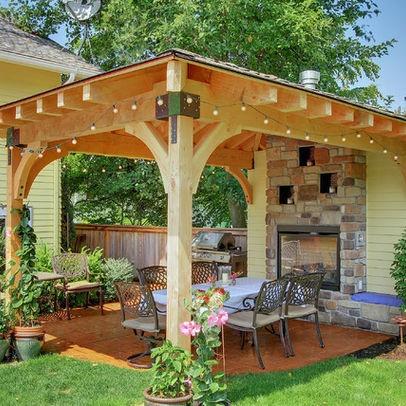 gazebo spa and fireplace small backyards - Google Search