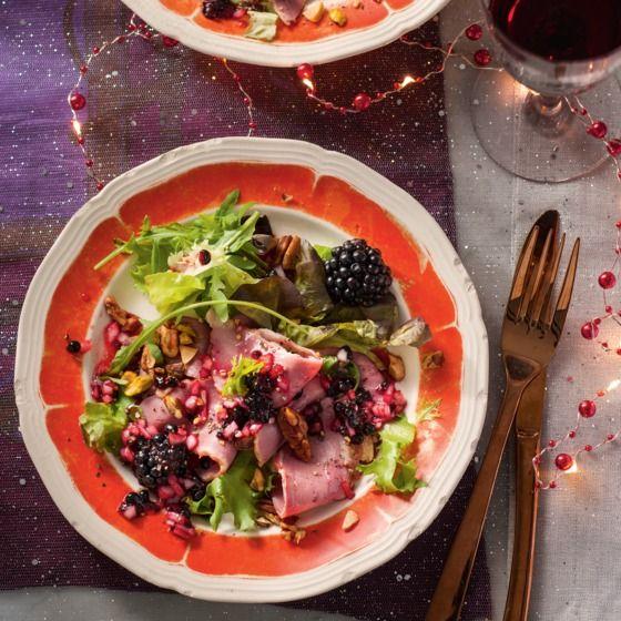 Helemaal kerst: salade met gerookte eendenborstfilet