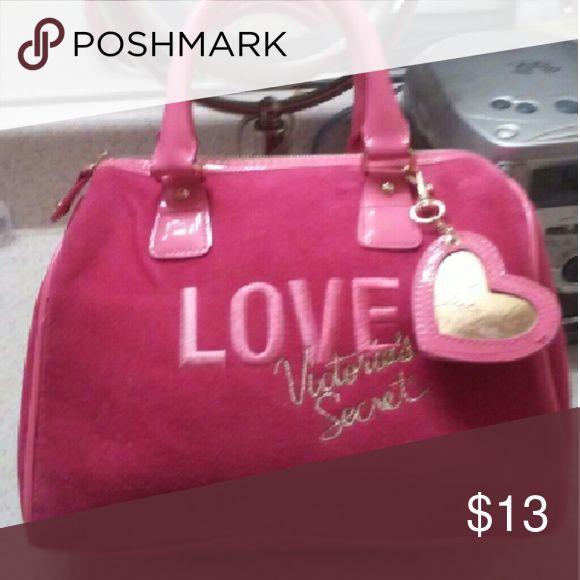 VICTORIA SECRET Hot PINK HANDBAG Cute! Medium sz pink velvet look-awesoe embellishments! Inside: pink satin lining w VICTORIA SECRET written in gold lettering Victoria's Secret Bags Mini Bags