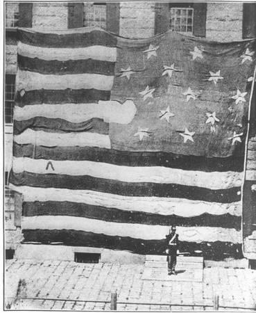 The first known photograph of the Star-Spangled Banner, taken June 21, 1873. The family of Maj. George Armistead gave the Star-Spangled Flag to the Smithsonian in 1912. - The most beloved flag of all | Deseret News
