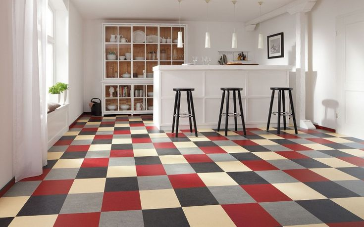 Furniture black red gray beige plaid marmoleum modular for Checkered lino flooring