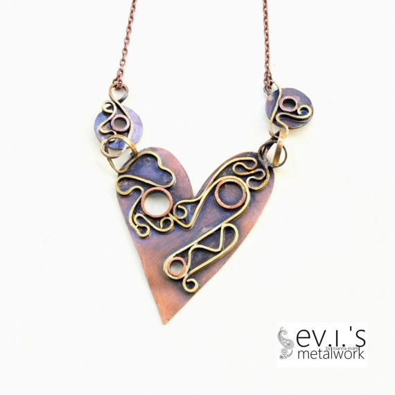 Copper Heart Labyrinth Folded Short Bib Necklace by evismetalwork, €48.00