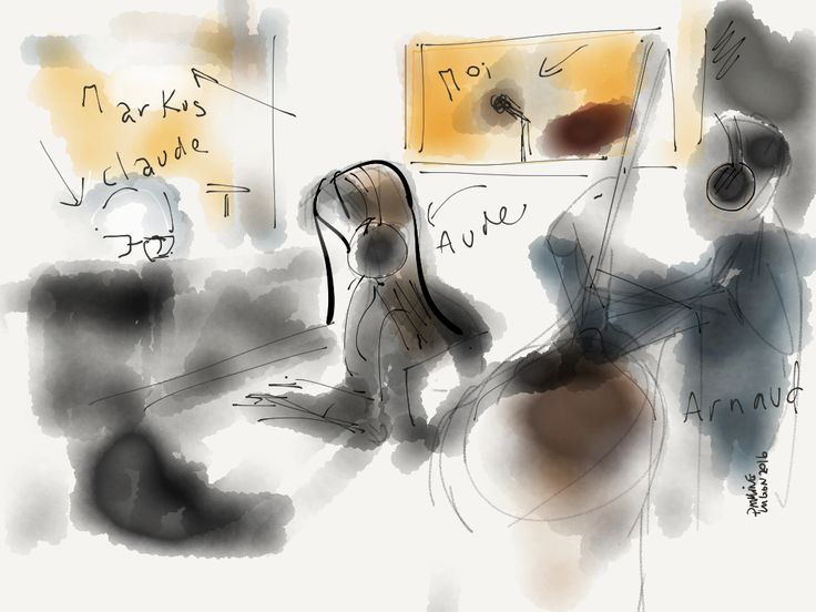 Recording session, cd VOLVER, drawing By pauline lugon, 2016