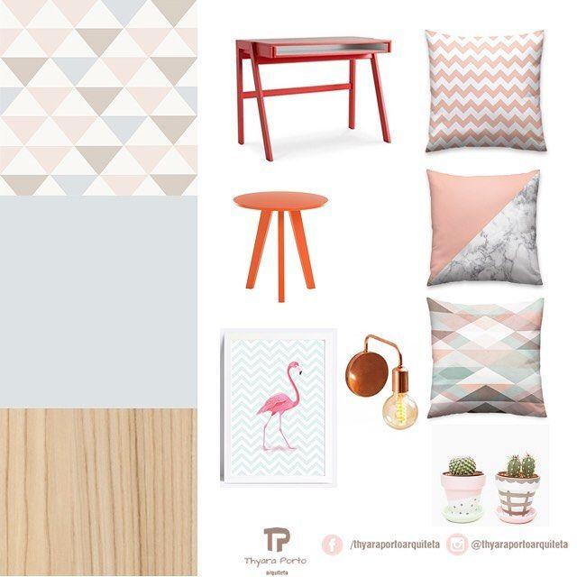 #moodboard de um quarto para uma adolescente, com uma paleta de cores suave e al…