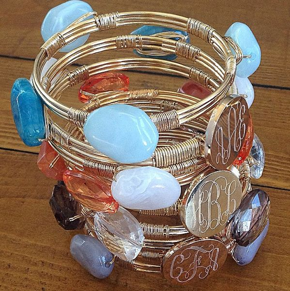 stone and wire bangles with monogram