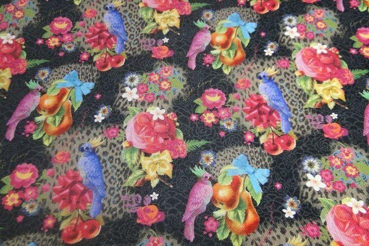 Canvas stof papegaai zwart fuchsia B0264