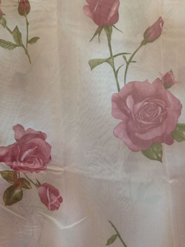 Rose Floral Flowers Shower Curtain Set with Vinyl Liner Plastic and Hooks, Cute! #NoNameBrand #Country