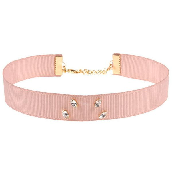 Johnny Loves Rosie Mia Blush Ribbon Choker Necklace ($34) ❤ liked on Polyvore featuring jewelry, necklaces, choker, accessories, collares, choker jewelry, chain necklaces, chain collar necklace, ribbon choker necklace and thick choker necklace