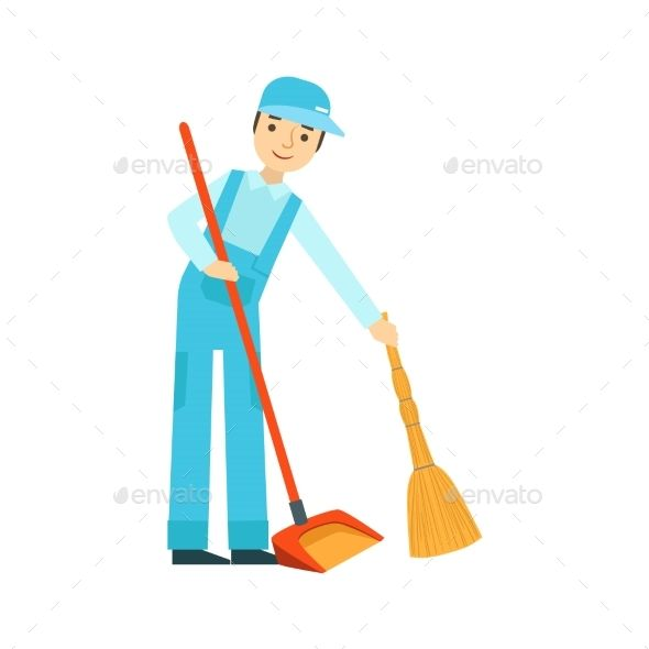 Man With Broom And Duster Sweeping The Floor