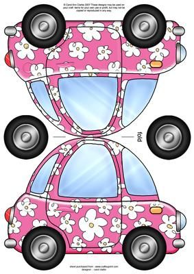 Funky Car Shaped Card on Craftsuprint designed by Carol Clarke - A fun and funky car shaped card A quick and easy card. Just cut and fold the shaped card in half and add the decoupage wheels if wished ....... or even add them using brads too add a bit of further dimension to your card.This design is great for male birthday cards and female birthday cards but is also suitable for lots of occasions including Anniversary card, Fathers Day card, Good luck in Driving Test Cards, Driving Test…