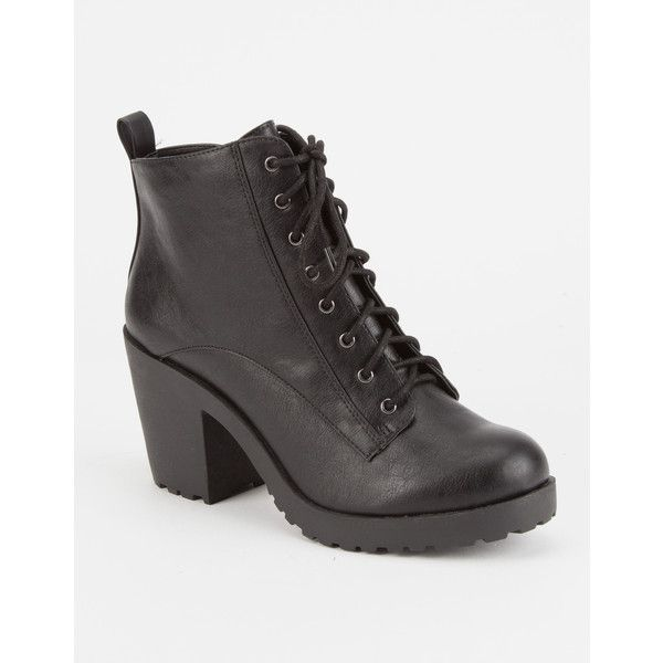 Soda Lace Up Womens Heeled Combat Boots ($35) ❤ liked on Polyvore featuring shoes, boots, ankle booties, military boots, high heel booties, lace up high heel boots, combat booties and chunky heel combat boots