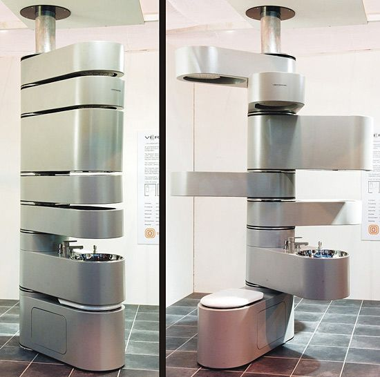 #bathroom http://mastersremediation.com Here's a space-saving idea that's decidedly space age. Design Odyssey Vertebrae is an all-in-one fixture with water flowing into it from the top, giving you a shower, a cistern for storing water, a couple of storage areas, a sink and a toilet, all in one stack.