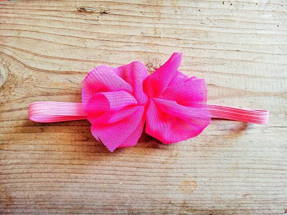 Twininas boho fuchsia headband. Handmade headband with soft and stretchy elastic adorned with elastic tulle in fluo fuchsia and felt backing.  Please