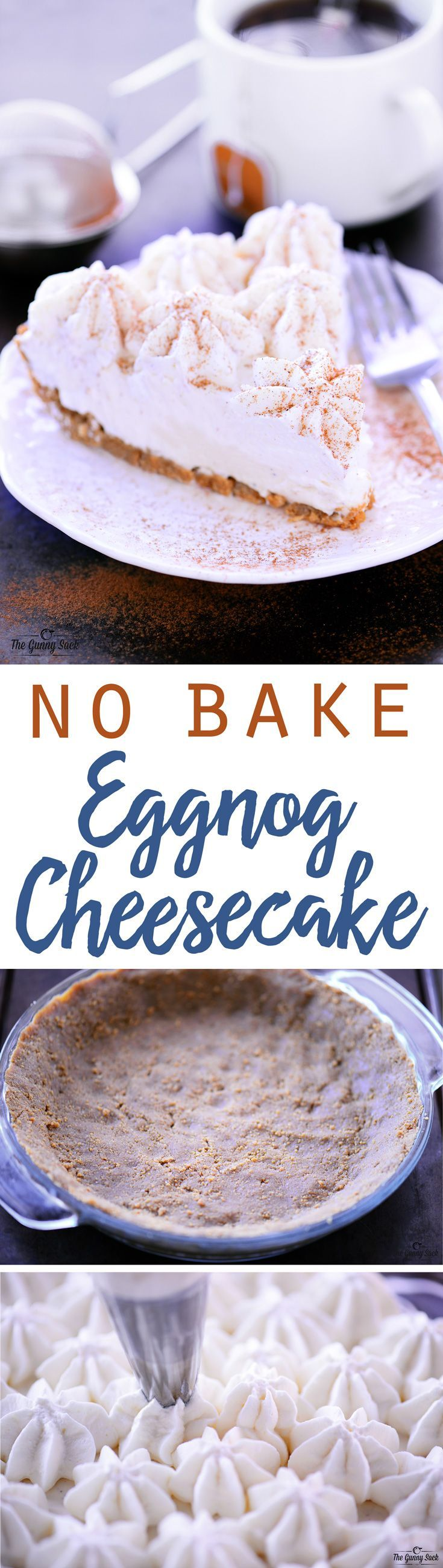 This holiday dessert recipe for No Bake Eggnog Cheesecake with a gluten free graham cracker crust is delicious and easy to make! Serve it at a holiday dinner or holiday party. #sponsored