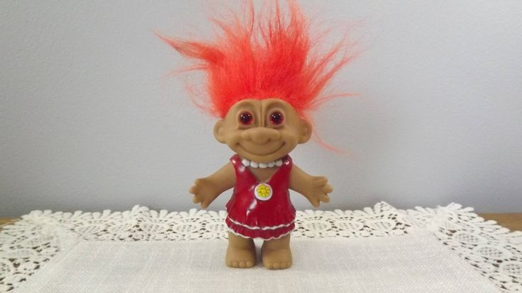 "Vintage Troll Doll with Pink Eyes, Molded Dress and Pearl Necklace, and Outrageous Orange Hair, 4.25"" Tall Toy Troll Figure by OutrageousVintagious on Etsy"