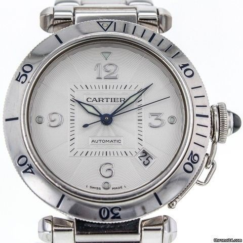 Cartier Pasha 38mm Date 2353 18k White Gold Automatic Men's Watch