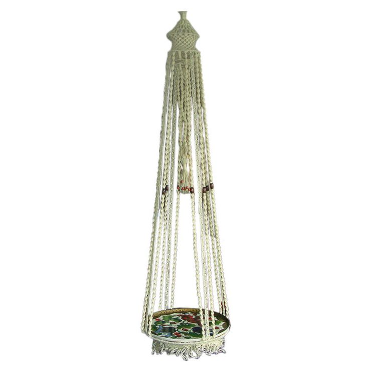 Macrame Hanging Table With Hand Painted Mexican Tray