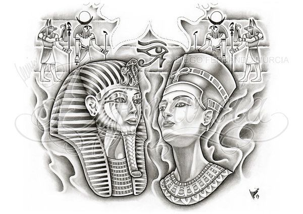 2013, A4 pigma micron and pencil Custom Egyptian back-piece tattoo design commission. This is a PAID COMMISSION DESIGN, please DON'T use it or ask me for permission to use it. If you want to get a ...