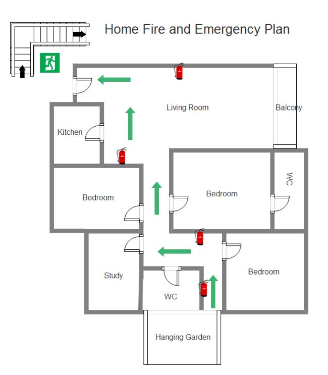 Emergency evacuation floor plan sample gurus floor for Fire evacuation plan template for office
