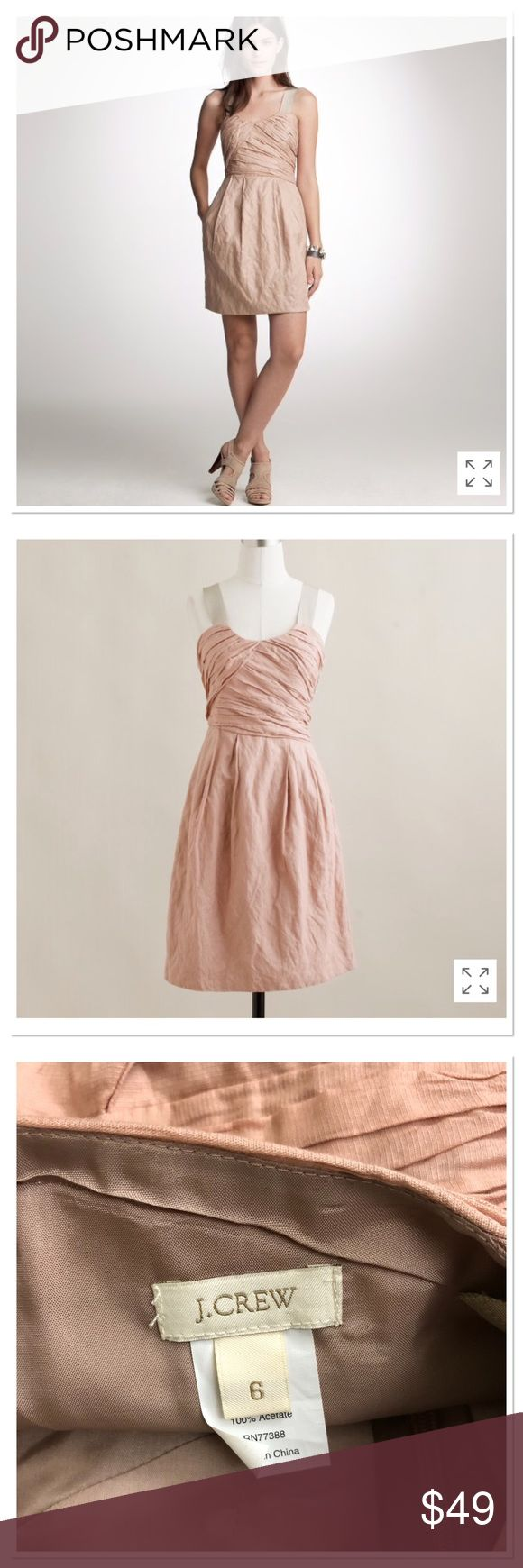 """J. Crew Vivette pleated Cocktail dress blush pink J. Crew Vivette pleated Cocktail dress blush pink. Featuring scoop neck, wide straps, hidden side zip, fully lined, distinctively tousled look, with ultra fine metallic thread, cotton, gives a crinkled look. Beautiful special occasion dress, cocktail, graduation, cute dress Size 6.  Pit to pit: 17,5"""" Length: 36""""  Worn once, like new. J. Crew Dresses Midi"""