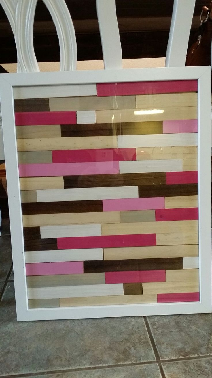 Wooden crafts to paint - I Used An Old Frame And Free Paint Stir Sticks To Make This Super Cute Wall