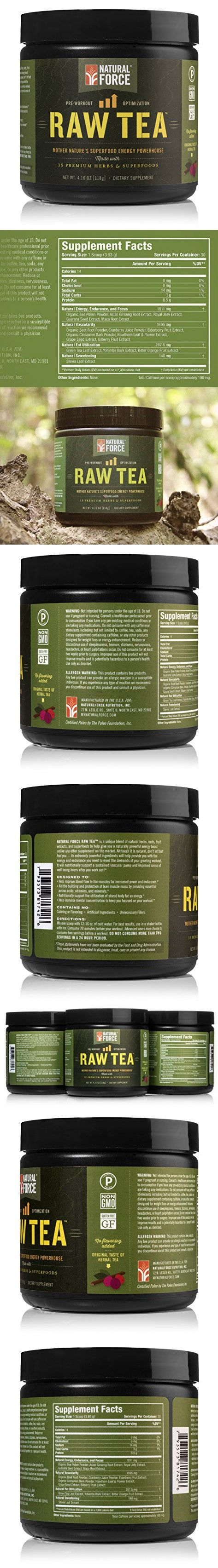 Natural Force Raw Tea - NATURAL PRE WORKOUT SUPPLEMENT - Organic Ingredients, Vegan, Certified Paleo, and Non-GMO Clean Pre Workout *No Synthesized Vitamins* Original, 4.16 oz.