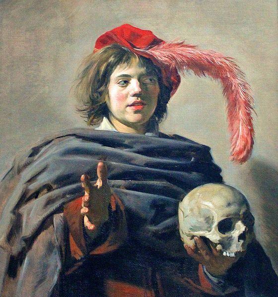 """Frans Hals """"Jongeman met een schedel"""" 1626-1628 Haarlem  """"wat ik bijzonder goed vind aan dit kunstwerk, is het gebruik van de kleuren. de grijzen en de rode kleuren steken erg mooi tegen elkaar af, en vormen een prachtig contrast""""."""