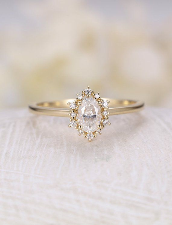 Vintage engagement ring Oval Moissanite engagement ring 14K gold halo diamond wedding Bridal Jewelry Cluster Anniversary Gift for women