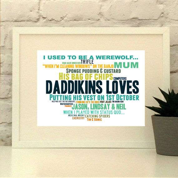 Father of the bride gift  This print is a thoughtful and personal gift for the Dad in your life.  Please provide a list of 10-30 words and short phrases and your colour preferences and I will create you a bespoke piece for your special person.  You will be emailed a proof of your design to approve prior to printing.    www.pepperdoodles.co.uk
