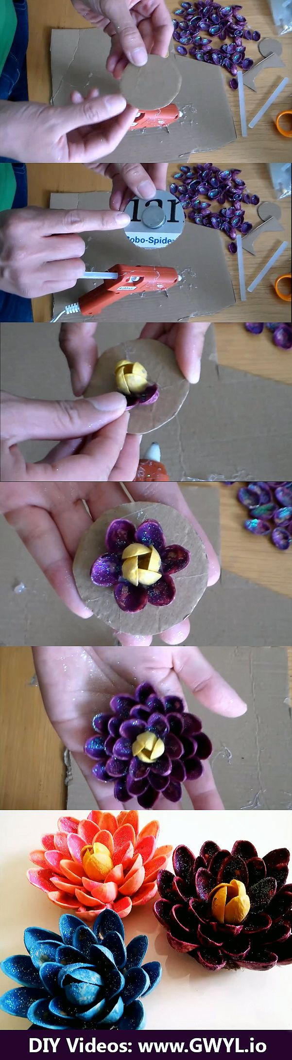Are you wondering where to put all those pistachio shells after polishing off a bag? Don't throw them, instead, upcycle them! | Create Flowers Out Of Pistachio Shells | See the video and written instructions here: http://gwyl.io/create-flowers-pistachio-shells/