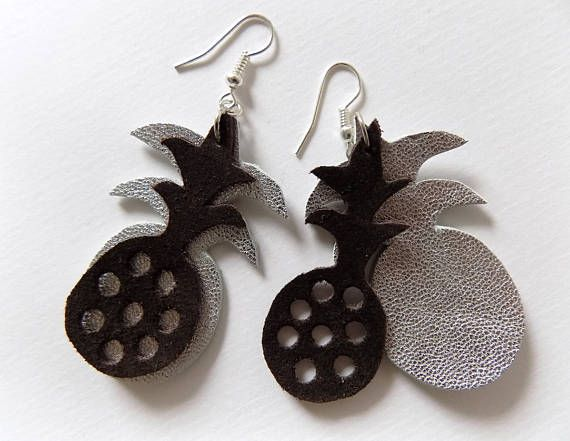 Pineapple earrings handmade out of natural leather original